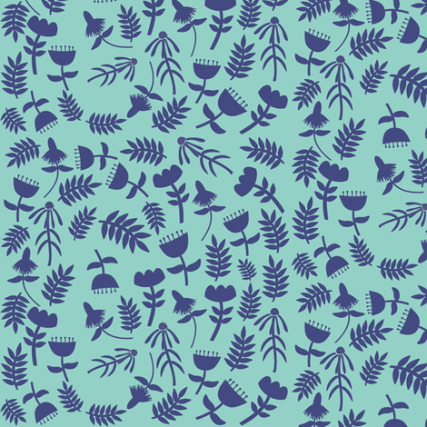 Solid Flowers (sky) fabric by heidikenney on Spoonflower - custom fabric