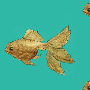 Goldfish on a green background