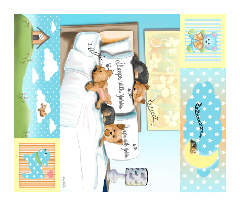 Sleeps with Yorkies Panel Quilt  fabric by catialee on Spoonflower - custom fabric