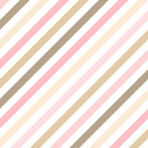 Girly Pink and Brown Diagonal Stripes Pattern