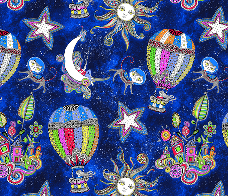 Cosmic dreams fabric dinorahaleatelier spoonflower for Cosmic print fabric