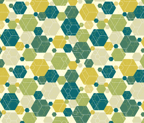 Hexagon melange, green fabric by linkolisa on Spoonflower - custom fabric