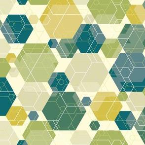 Hexagon melange, green