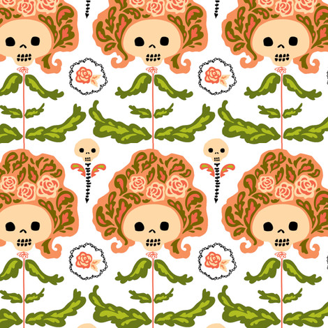 big hair skelly flowers fabric by skellychic on Spoonflower - custom fabric