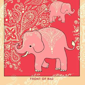 Mehndi Elephants cut and sew reusable tote