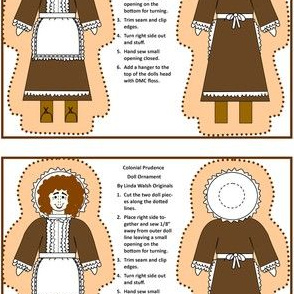Colonial Prudence Pilgrim Lady Cut and Sew Doll