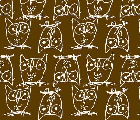 BROWN OWLIES fabric by artfink on Spoonflower - custom fabric