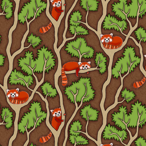 Red Panda fabric by sufficiency on Spoonflower - custom fabric