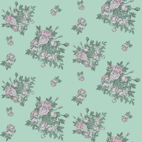 In Bloom // vintage mint and pink rose  //  nicholefranklindesigns