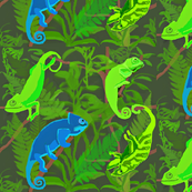 Chameleon // blue and green tropical