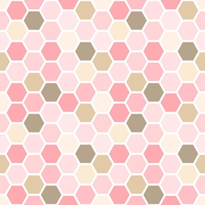 Girly Pink and Brown Geometric Honey Comb Pattern