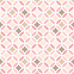 Girly Pink Geometric Lattice Circle Pattern