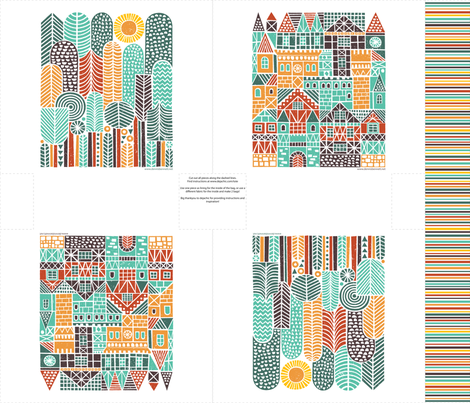 houses&trees tote bag fabric by dennisthebadger on Spoonflower - custom fabric
