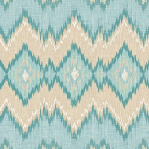 Ikat Chevron in Aqua and Champagne