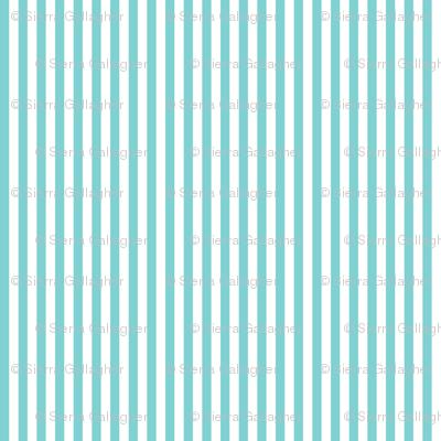 Aqua Stripes 1/2 Inch Vertical