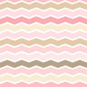 Girly Pink and Brown Geometric Thin Chevron Pattern