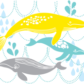 Whales Swimming Yellow, Mint and Grey