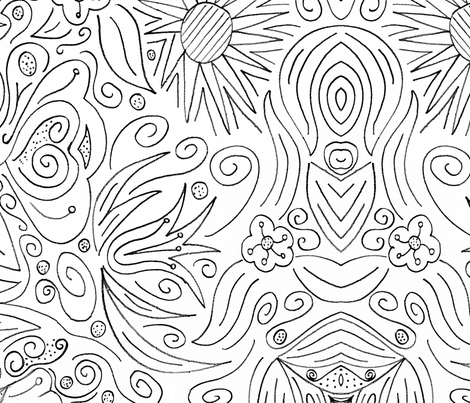 Floral coloring book wallpaper fabric by pirate_designs on Spoonflower - custom fabric