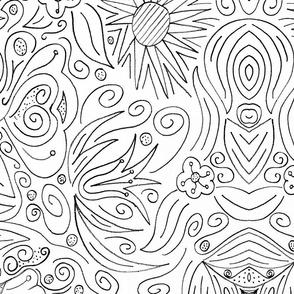 Floral coloring book wallpaper