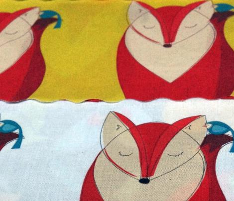 Red Fox with Blue Bird