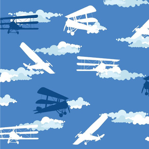 White & Blue Airplanes & Clouds