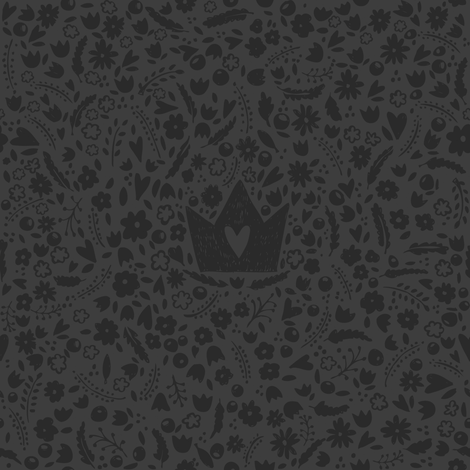 The Good King Crown and Flowers fabric by arianarmstrong on Spoonflower - custom fabric