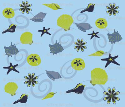 Seashells Blue Green