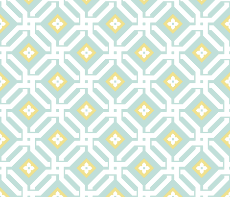 Aberdeen in Mint and Daffodil fabric by willowlanetextiles on Spoonflower - custom fabric