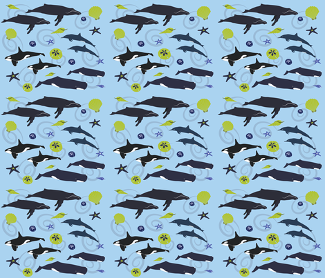 Whales fabric by terriaw on Spoonflower - custom fabric