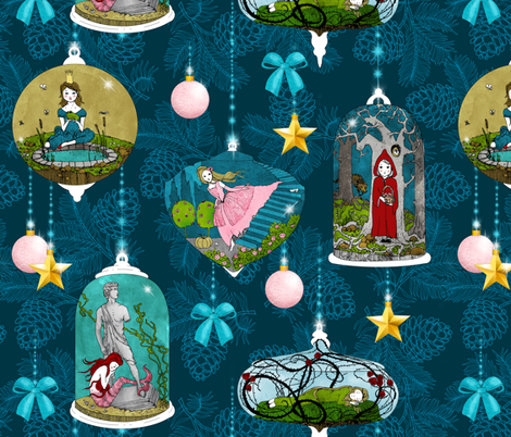 Fairytale Xmas Tree Ornaments (Dark) fabric by nouveau_bohemian on Spoonflower - custom fabric