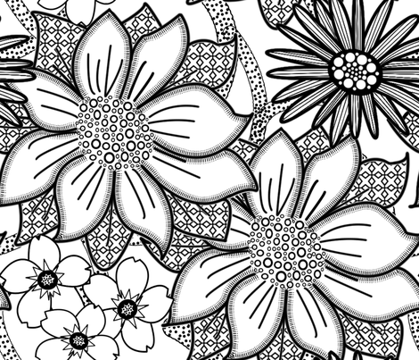 ColourMe Floral Wallpaper Large fabric by nezumiworld on Spoonflower - custom fabric