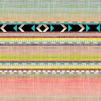 Southwest Aztec Linen stripe in pink, aqua and black