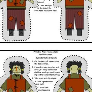 Primitive Andy Frankenstein Cut and Sew Doll