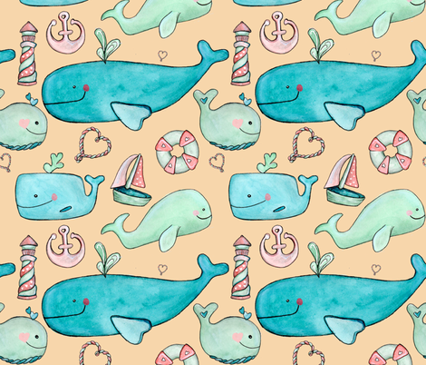 nauticalheartspattern fabric by chesleyjean on Spoonflower - custom fabric