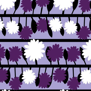 purple flower stripe with bold black stems