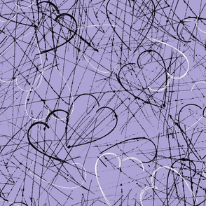 rough sketchy hearts in black and white on purple background. Valentine hearts