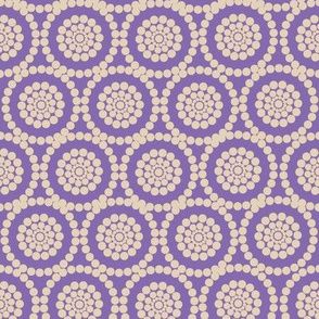 Geometric Flowers Purple and Cream