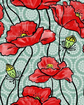 Red Poppies Circle Flowers 3