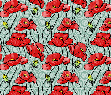 Red Poppies Circle Flowers 3 fabric by vinpauld on Spoonflower - custom fabric
