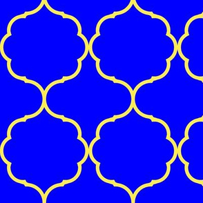 Hexafoil royal blue with yellow outline