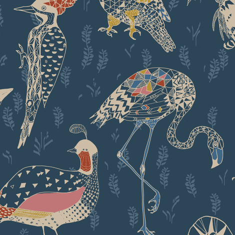 Geo Birds (in Folksy Navy) fabric by nouveau_bohemian on Spoonflower - custom fabric