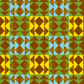 Tribal Geese Cheater Quilt - Green