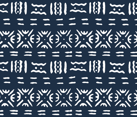 Mudcloth in Navy fabric by willowlanetextiles on Spoonflower - custom fabric
