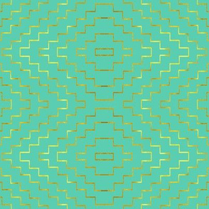 Aztec in Aquamarine and Gold