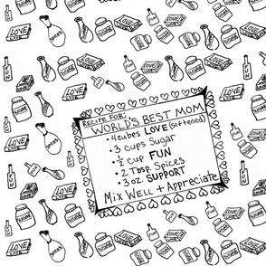 World's Best Mom Recipe (original)-Tea Towel