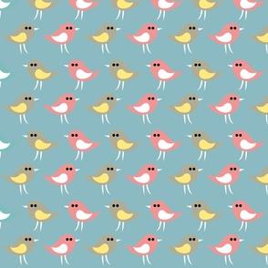 Birds pattern_greenbleu