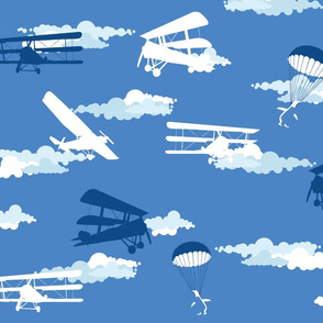 White & Blue Para-Penguins, Airplanes & Clouds