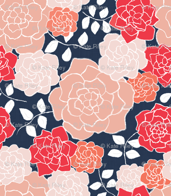 Floribunda, Coral + Navy wallpaper - kateriley - Spoonflower