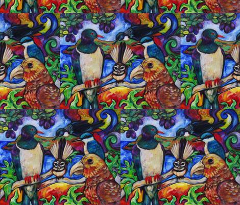 New Zealand Native Birds fabric by diconnollyart on Spoonflower - custom fabric