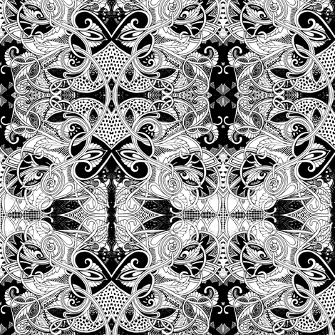 When Lady Guinevere Speaks in Black and White fabric by edsel2084 on Spoonflower - custom fabric